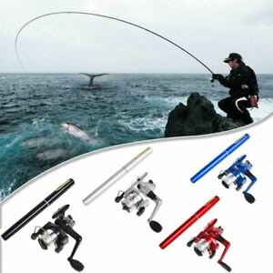Details about Mini Pocket Size Telescopic Pen Fishing Tackle Rod Bait Aluminum Alloy Pole Reel