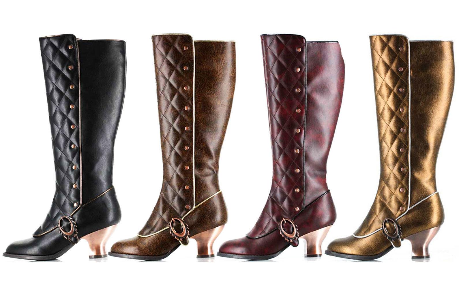 Hades VICTORIANA Steampunk Knee High Black Brown Burgundy Boots Copper Heels