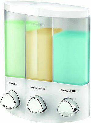 Euro Series TRIO Three Chamber Soap and Shower Dispenser, White, New