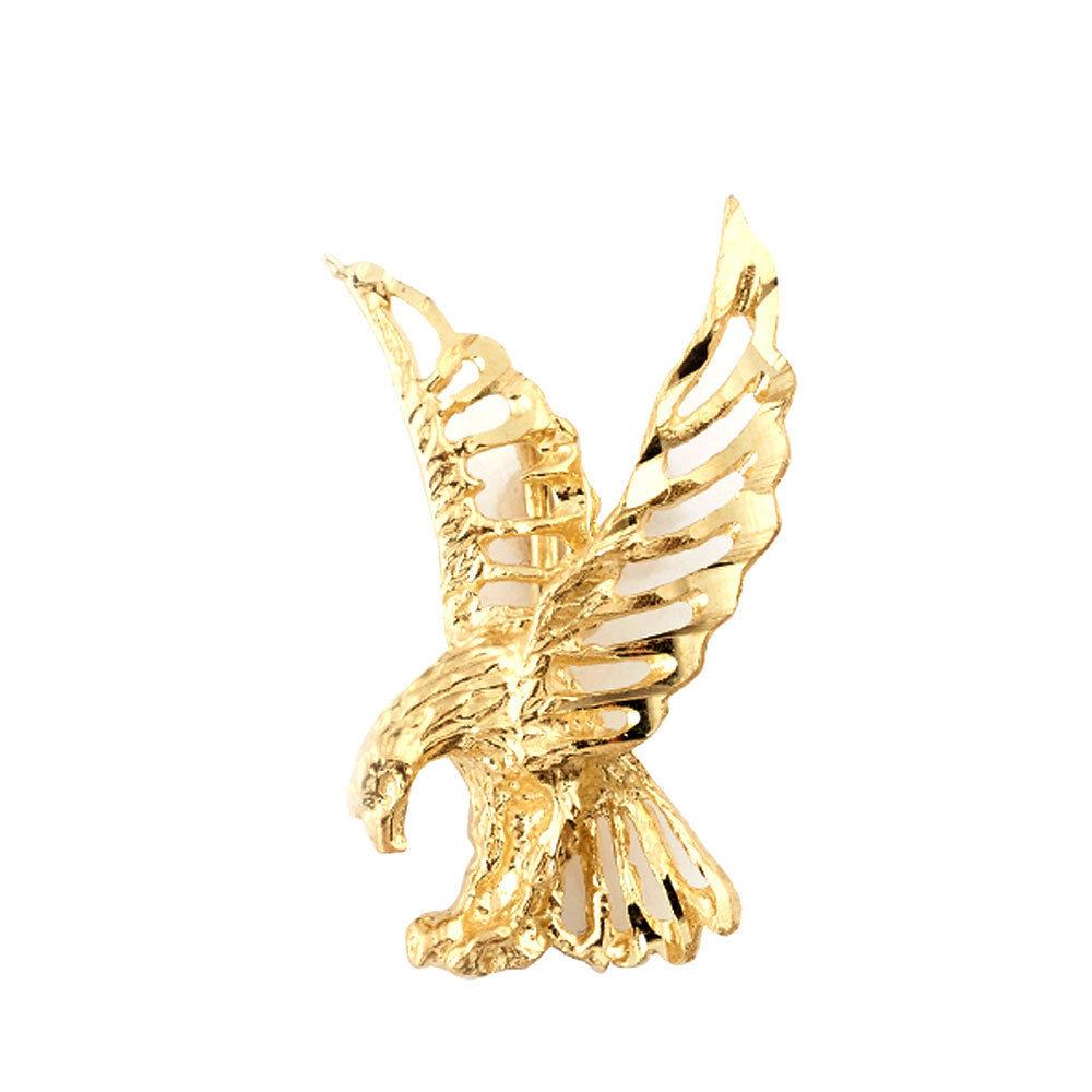 Mens Womens 10K Yellow gold Eagle Hawk Flying Charm Pendant 2.00 Gram