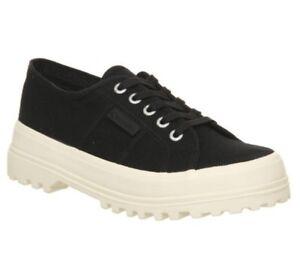 scarpe sportive 27a90 4b1e1 Dettagli su Donna Superga 2555 Scarpe da Ginnastica Nere Bianco Sporco  Esclusivo