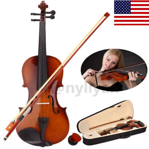 Full Size 4/4 Violin Handed Natural Acoustic Fiddle W/Case Bow Rosin Natural US