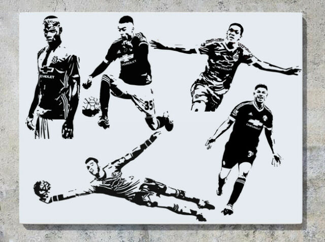 Footballers Pogba De Gea Lingard Rashford /& MORE Wall Art Decal Sticker Small