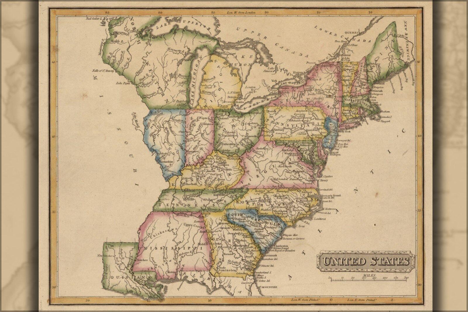 Poster, Many Größes; Map Of United States 1817