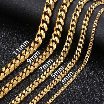 3//5//7//9//11mm Hommes Plaqué Or Curb Cuban Link Chain Collier Bracelet Bijoux Set