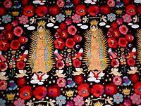 La Virgencita Fabric Folklorico Guadalupe Mexican Folk Art Black Henry By Yard