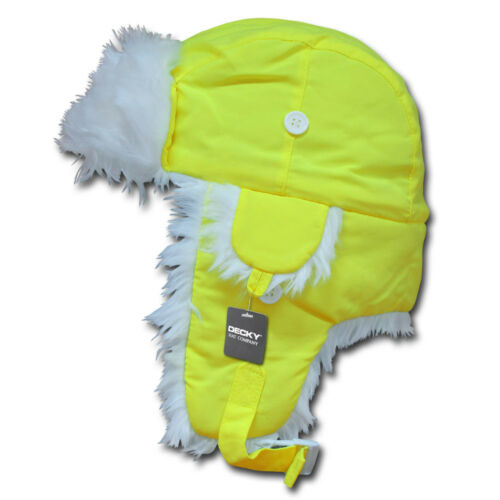 Neon Yellow AVIATOR BOMBER HAT White Fur Trapper Cap ski snowboarding S//M L//XL