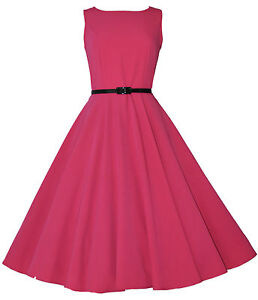 Vintage Retro 40 s 50 s Audrey Pink Mid Calf Rockabilly Swing Dress ... bfc9637fd78