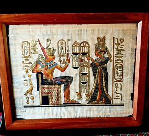 Framed-EGYPTIAN-PAINTING-on-PAPYRUS-Handpainted-PHARAOH-EGYPT-Signed-20-034-W-x-16-034-H