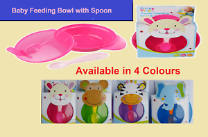 Feeding Bowl with Spoon and Lid Travel For Babies in Blue,Pink Purple /& Green