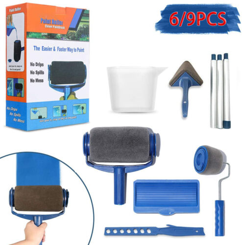 Paint Runner Pro Roller Brush Set Room Decorating Handle Tools Kits Blue UK