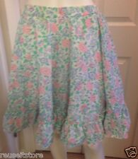 "Square Dance Skirt White Floral Print Pink Green Blue Vintage Waist 28"" -36"""