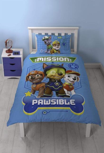 Paw Patrol Spion Mission Pawsible Einzelbett Bettwäsche Kinder Jungen Neu