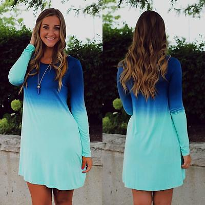 Damen Gradient T-Shirt Kleider Langarm Bluse Lang Oberteil Sommerkleid Minikleid