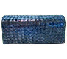 Anthony David Navy Blue Rhinestone Crystal Handbag Evening Bag Clutch Purse