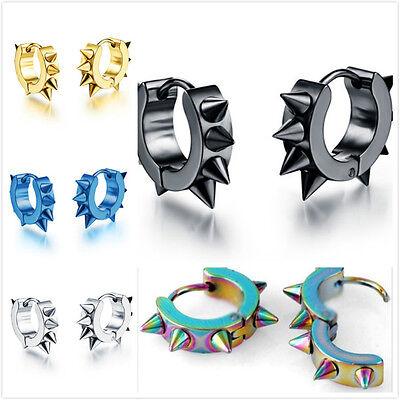 2pcs Punk Stainless Steel Hoop Spike Rivet Hoop Huggie Stud Mens Womens Earrings