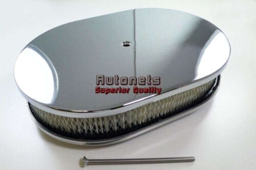 """12"""" Oval Smooth Plain Chrome Aluminum Air Cleaner Filter Chevy Ford SBC BBC GM"""