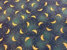 Laurel Burch - Celestial Dreams - Moon + Stars - Light Blue Metallic 100% Cotton