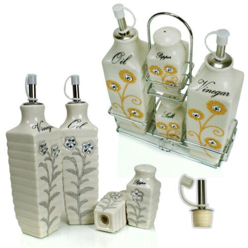 Menage-Set Gewürzset 5 pièces en porcelaine avec support métal