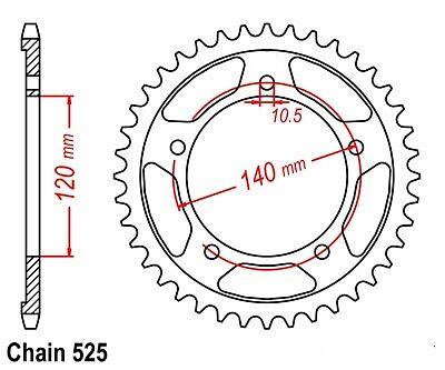 TRIUMPH SPROCKET 47T  1792.47  BLACK NEW REAR STEEL SUZUKI