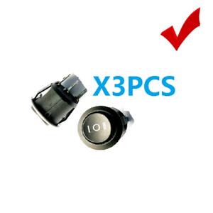 3x Switch Circle Button 6A//250V 10A//125V black KCD1-105 SPST On-Off Panel Rocker