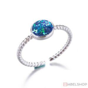925-Sterlingsilber-Damen-Ring-Ringe-Rund-Kreis-Mermaid-Coin-Verstellbar-Silber