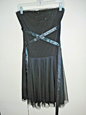 opera black ribbon corset black party dress size large  ebay