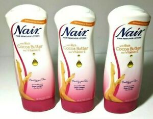 3 Pack Of Nair Hair Remover Lotion With Rich Cocoa Butter And Vitamin E 9 Oz New Ebay