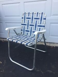 Awe Inspiring Details About Vintage Aluminum Folding Chair Blue White Webbed Patio Lawn Chair Ibusinesslaw Wood Chair Design Ideas Ibusinesslaworg