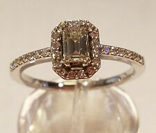 14K WG 3/4 TCW  EMERALD SHAPE HALO STYLE DIAMOND ENGAGEMENT RING 2.5 GR SIZE 6