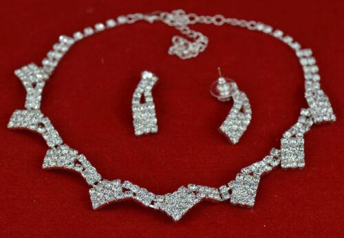 DIAMANTE NECKLACE /& EARRINGS JEWELLERY SET WEDDINGS PROM BRIDAL PARTY NEW UK