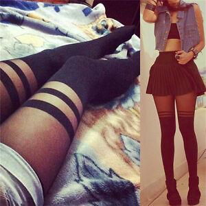 New-Women-Ladies-Black-Top-Sheer-Mock-Suspender-Tights-Pantyhose-Stockings