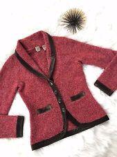 Anthropologie Monogram Sweater S Small HWR Cardigan Jacket Velour Trim T26