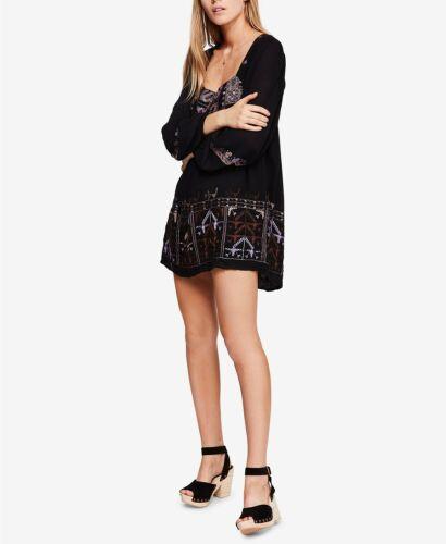 Free People $148 Rhiannon Embroidered Mini Dress Black