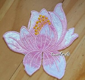 Pink white iron on transfer lotus flower embroidered patch applique image is loading pink white iron on transfer lotus flower embroidered mightylinksfo
