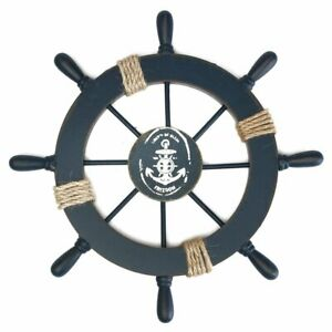 Wall-Wooden-Nautical-Beach-Boat-Ship-Steering-Wheel-Fishing-Net-Shell-Decor-US