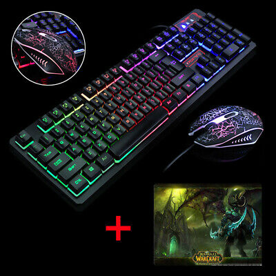 wired gaming keyboard and mouse set kit led illuminated rainbow ps4 xbox pc pad 793207335135 ebay. Black Bedroom Furniture Sets. Home Design Ideas