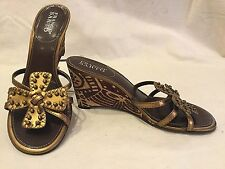 Franco Sarto Womens Sandals Size 9 LEATHER Wedges Bronze Cross Beaded Flower