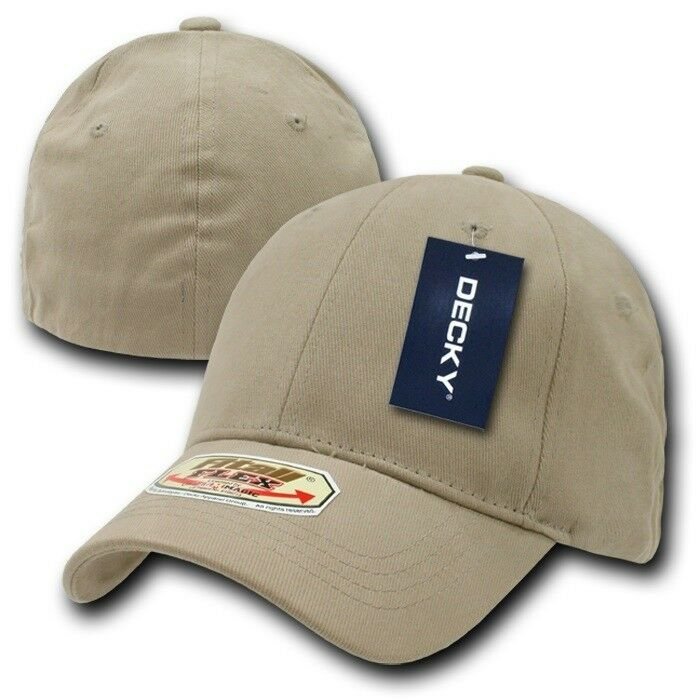 Khaki Solid Blank Plain Flex Fitted Curved Baseball Ball Fit Fitted Flex Cap Caps Hat - S/M 10c130