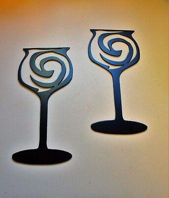 Swirled Wine Glass Metal Wall Art Metallic Red Single Piece