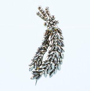 1840-Brooch-Cut-Steel-Wheat-Sheaf-Silver-Medium-Antique-English-Victorian-Retro