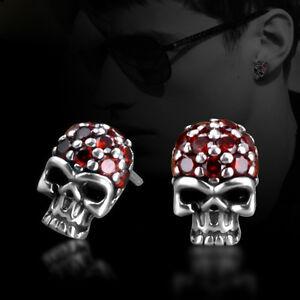 Image Is Loading Cool Punk Gothic Style Men Skull Garnet 925