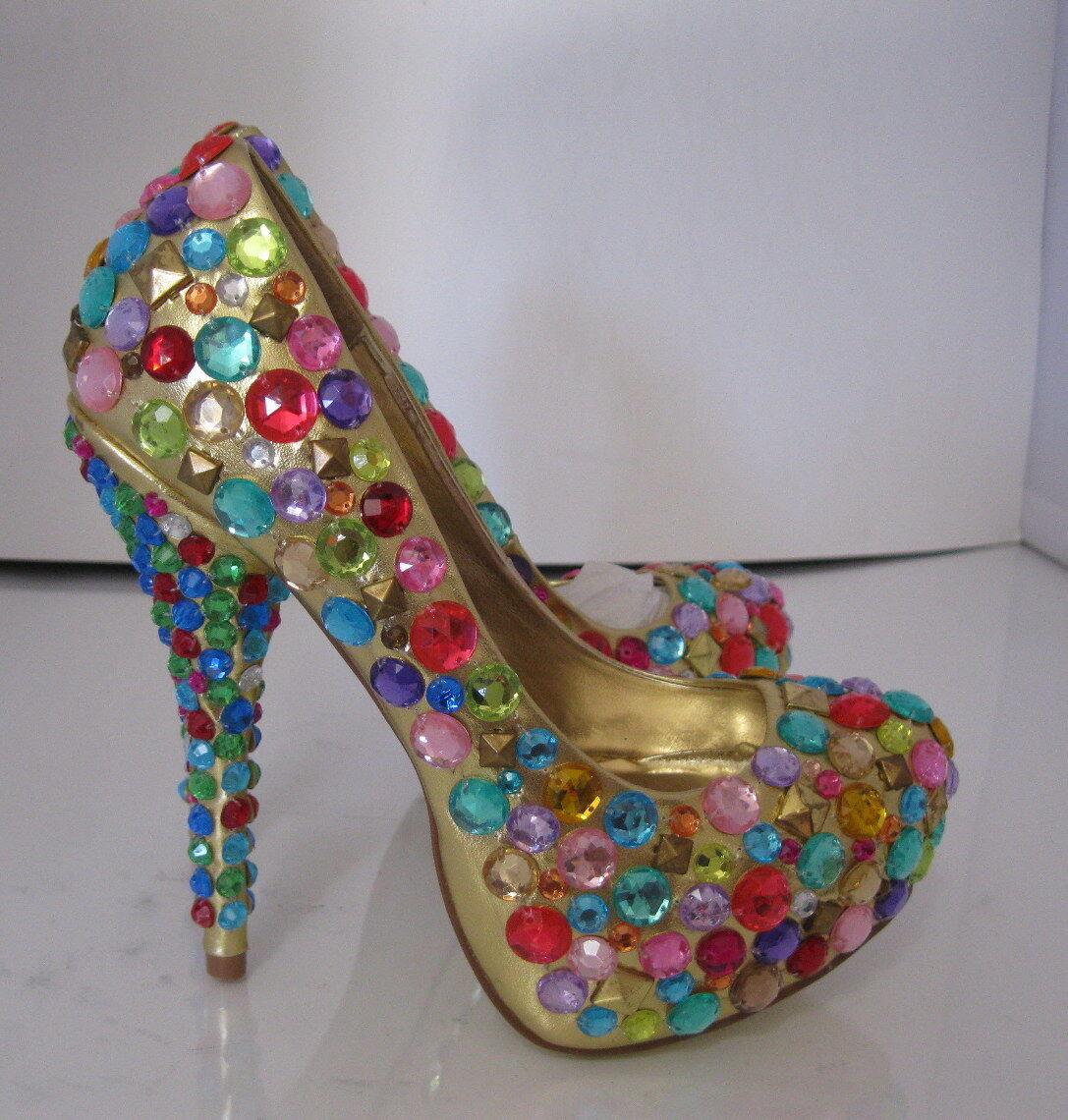 miglior reputazione donna oro Gems Gems Gems 5 Stiletto High Heel 1.5 Platform Round Toe Sexy scarpe Dimensione 6  risparmia fino al 50%