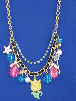 Betsey Johnson Goldtone Fairyland Flower Multi Charm Frontal Necklace $68