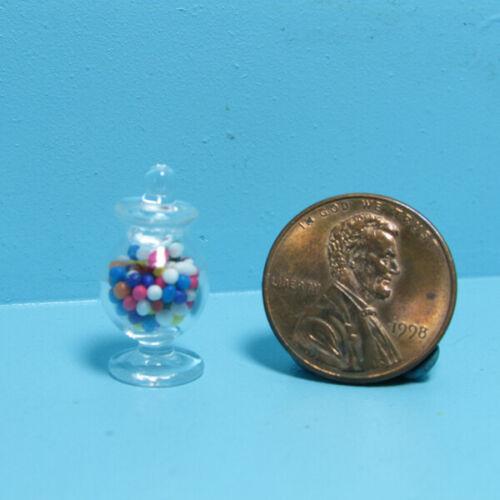 Dollhouse Miniature Replica Pedestal Glass Jar of Candy Gumballs MUL293