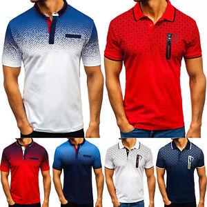 Men-039-s-Polo-Shirts-Tee-Tops-Short-Sleeve-Button-Summer-Slim-Sport-Golf-T-Shirts