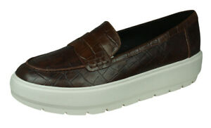 fricción genéticamente Teleférico  Geox D Kaula D Womens Brown Leather Loafers Slip On Croc-Skin Shoes   eBay