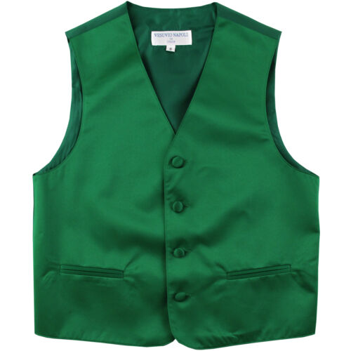 New Boy/'s Kid/'s formal Tuxedo Vest Waistcoat only Emerald green US sizes 2-14