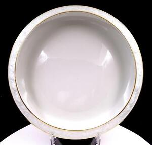 """GEROLD PORZELLAN W. GERMANY WHITE & GOLD EMBOSSED 11"""" FOOTED CENTERPIECE BOWL"""