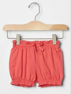2851d9134b69 GAP Baby Girl Size 0-3 Months Coral Pink Bow Ruffle Bubble Knit Pull ...